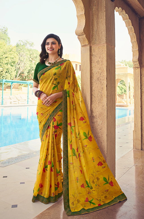 Yellow and Green Color Georgette Casual Wear Saree -  Nidra Collection  YF#10860