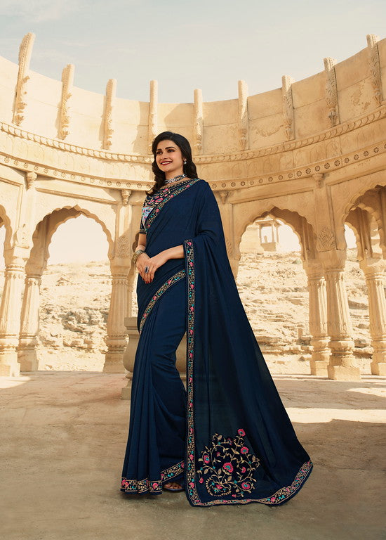 Navy Blue Color Dupian Silk Festive Wear Sarees -  Rabhya Collection  YF#10851