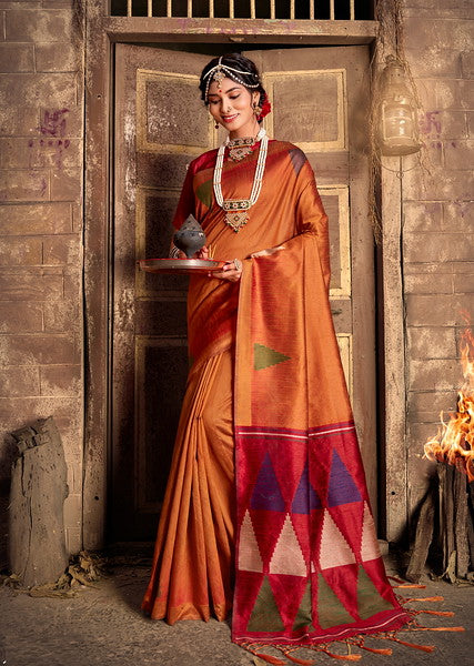Brown and Red Color Art Silk Ethnic Wear Saree -  Aashna Collection  YF#11608
