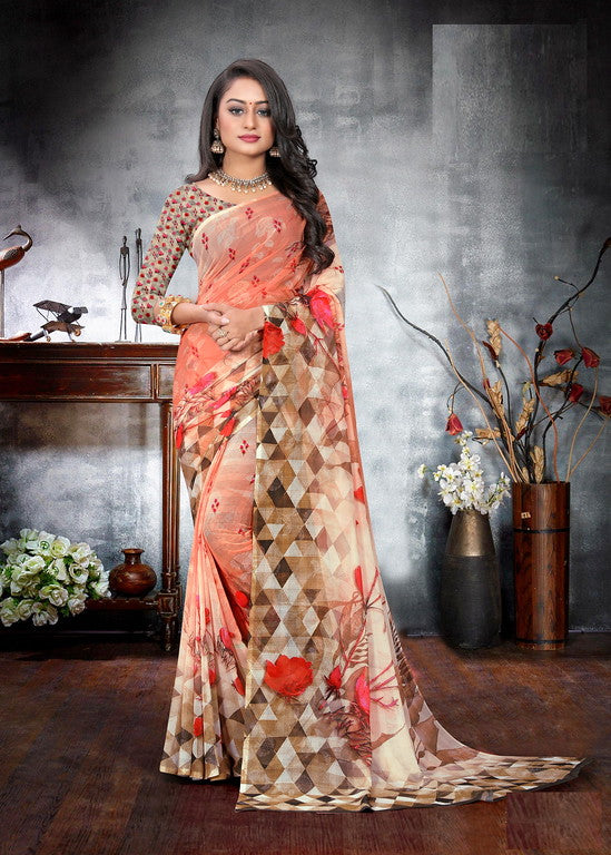 Orange Color Georgette Checks Digital Kitty Party Saree -  Drishya Collection YF#10374