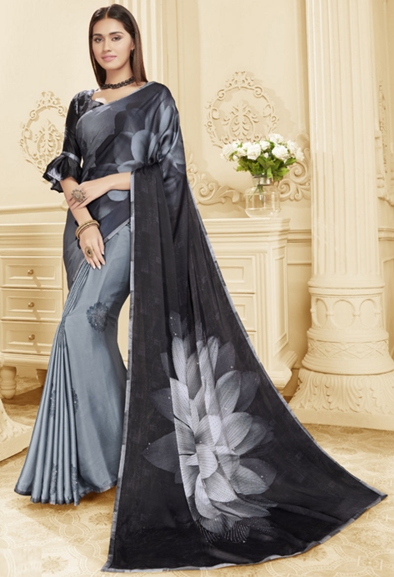 Grey & Black Color Crepe Silk Trendy Office Party Sarees NYF-6076