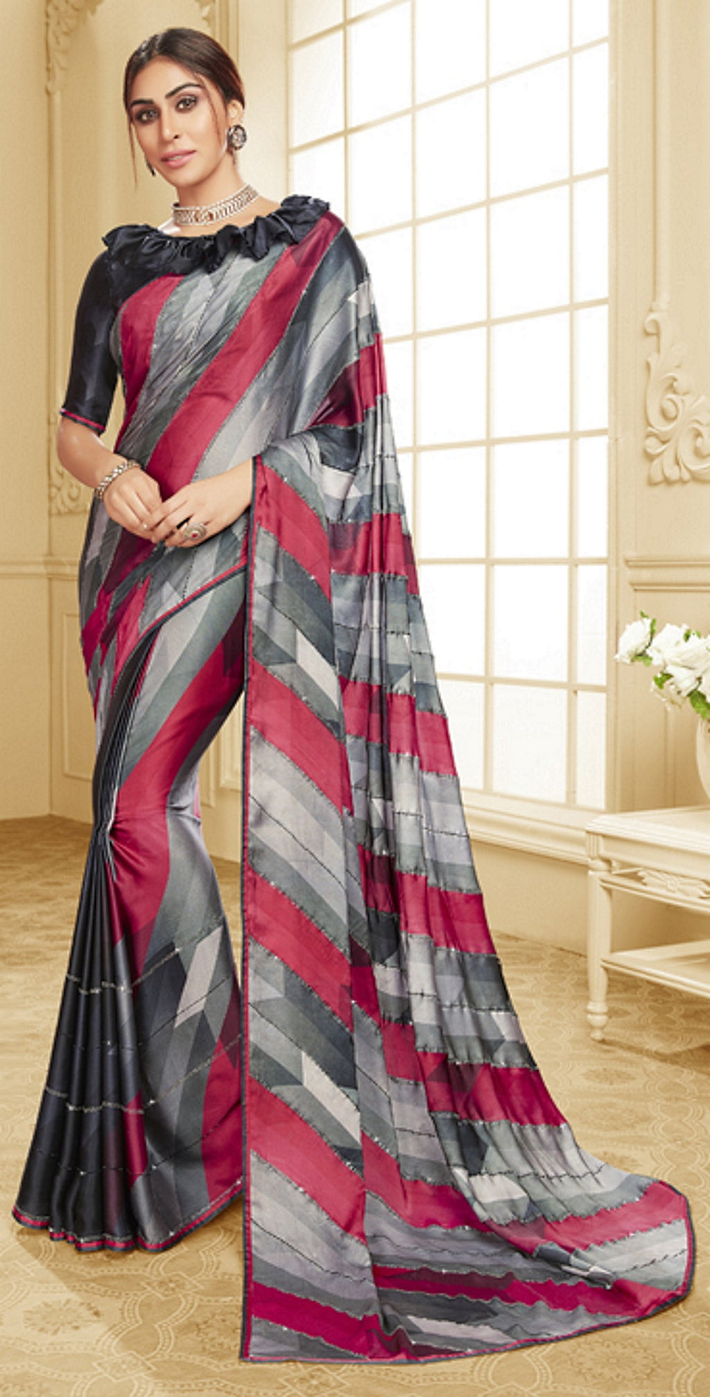 Grey Color Crepe Silk Trendy Office Party Sarees NYF-6077