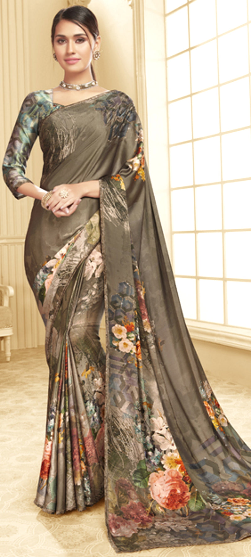 Mud Color Crepe Silk Trendy Office Party Sarees NYF-6078