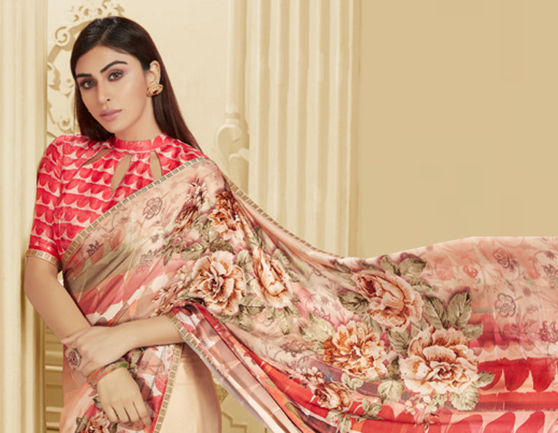 Baby Peach Color Crepe Silk Trendy Office Party Sarees NYF-6079