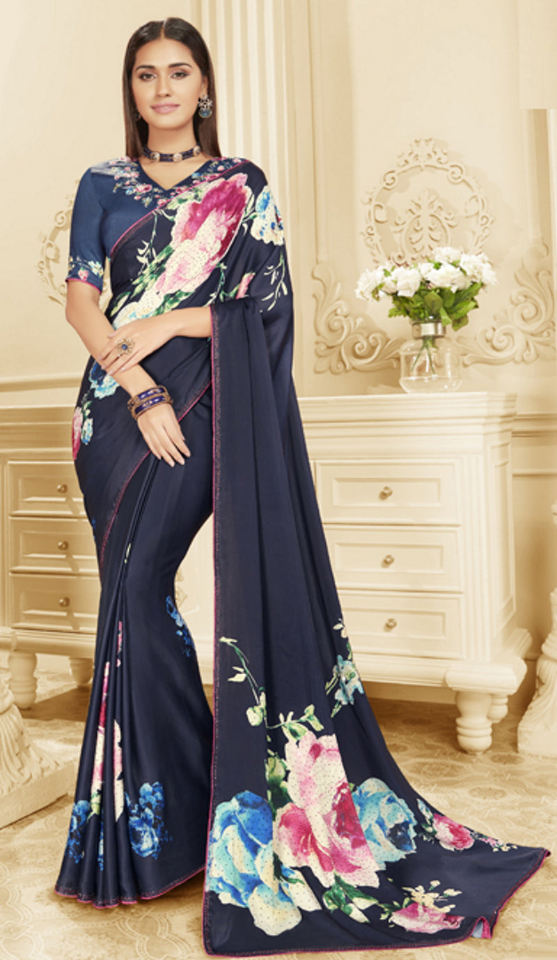Blue Color Crepe Silk Trendy Office Party Sarees NYF-6080