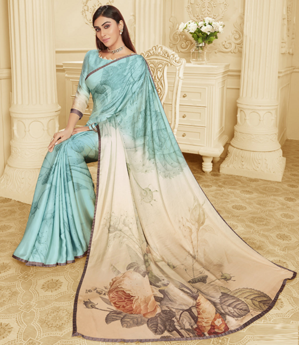 Aqua Blue Color Crepe Silk Trendy Office Party Sarees NYF-6081