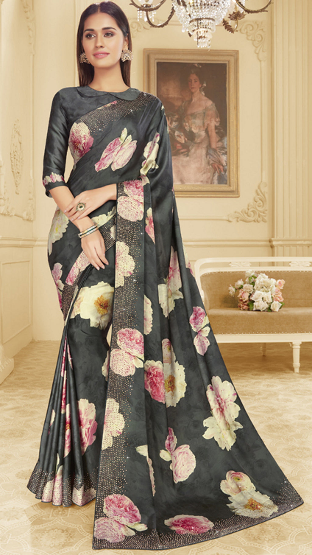 Grey Color Crepe Silk Trendy Office Party Sarees NYF-6082