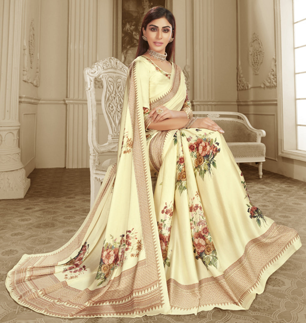 Cream Color Crepe Silk Trendy Office Party Sarees NYF-6083
