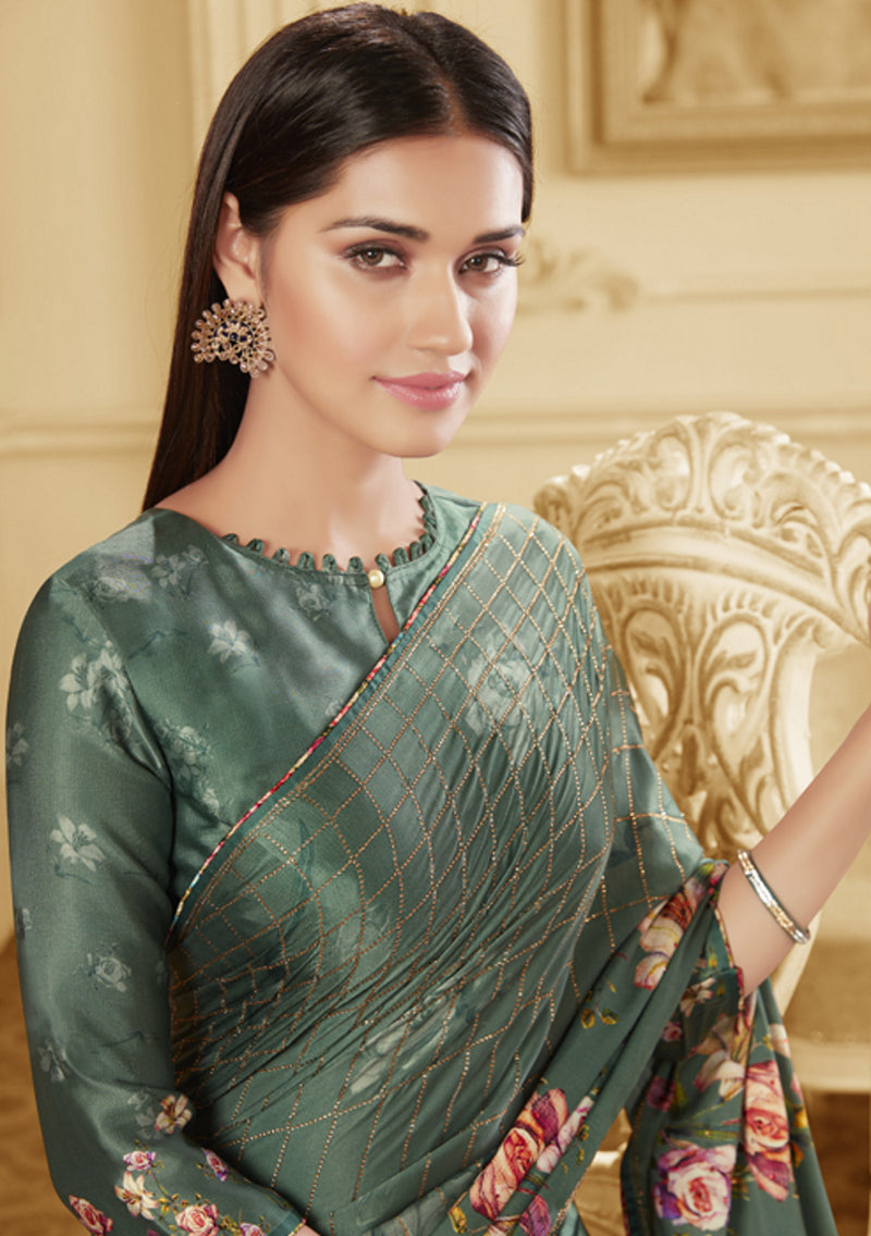 Shades Of Green Color Crepe Silk Trendy Office Party Sarees NYF-6084