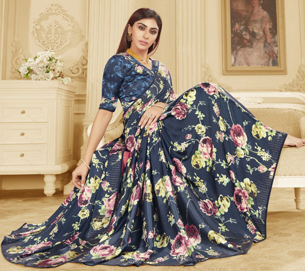 Blue Color Crepe Silk Trendy Office Party Sarees NYF-6085