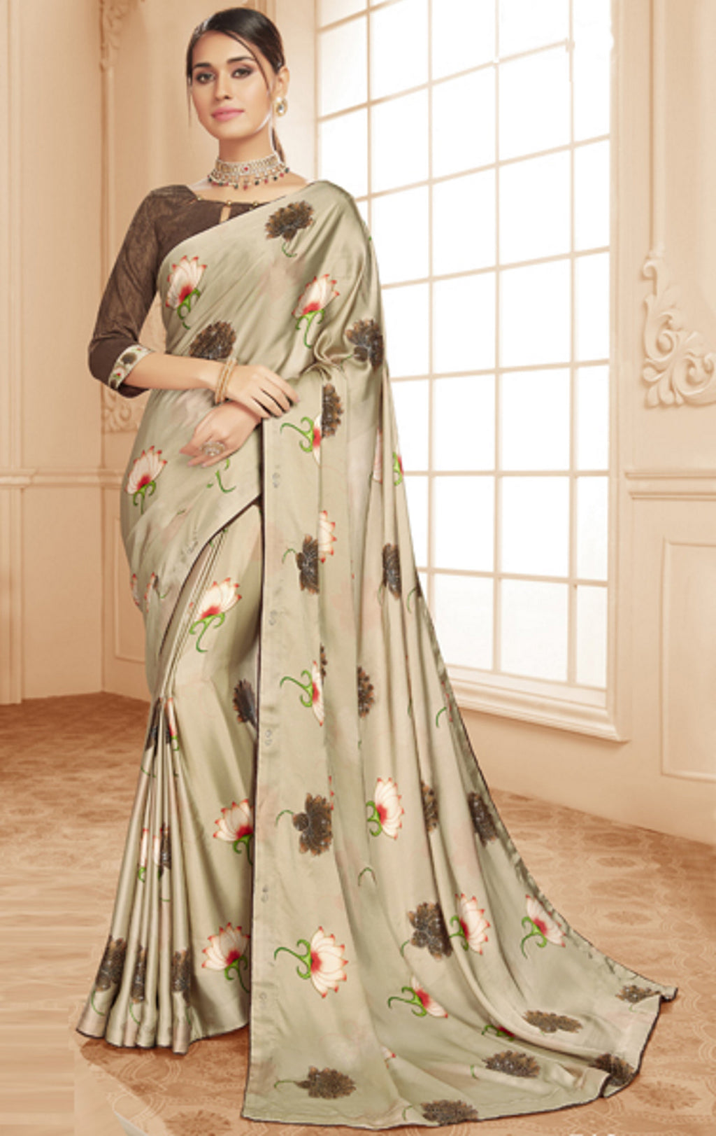 Cream & Brown Color Crepe Silk Trendy Office Party Sarees NYF-6086
