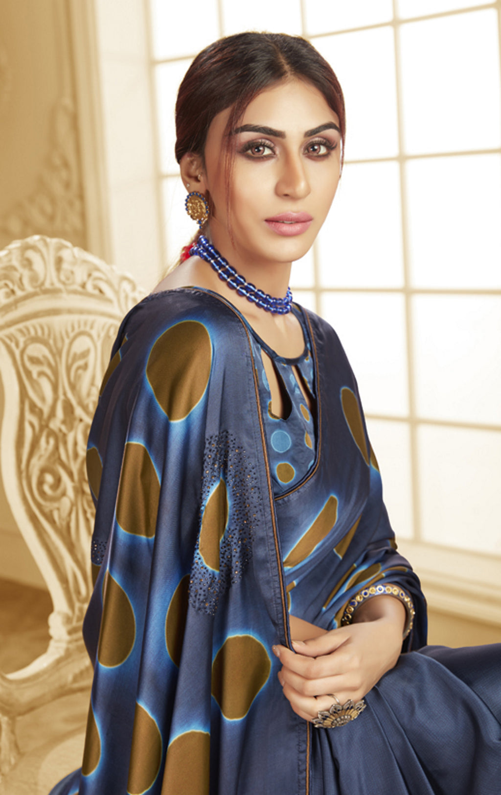 Blue Color Crepe Silk Trendy Office Party Sarees NYF-6087