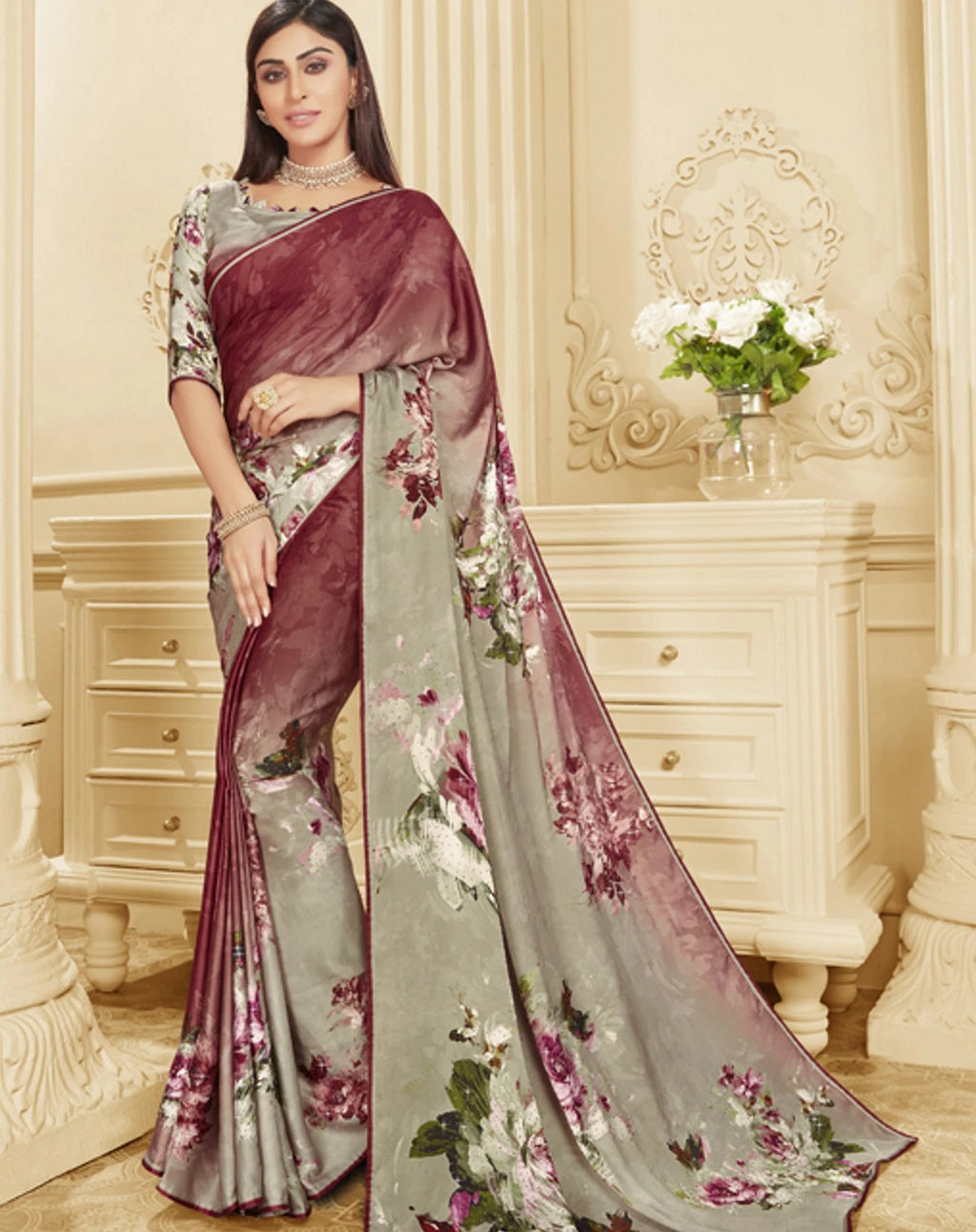 Magenta & Grey Color Crepe Silk Trendy Office Party Sarees NYF-6088