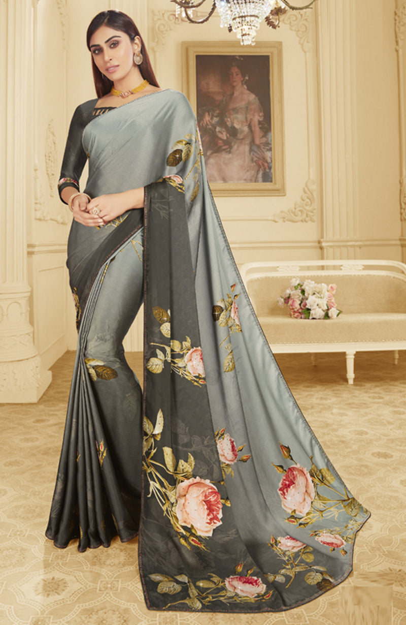 Light & Dark Grey Color Crepe Silk Trendy Office Party Sarees NYF-6089