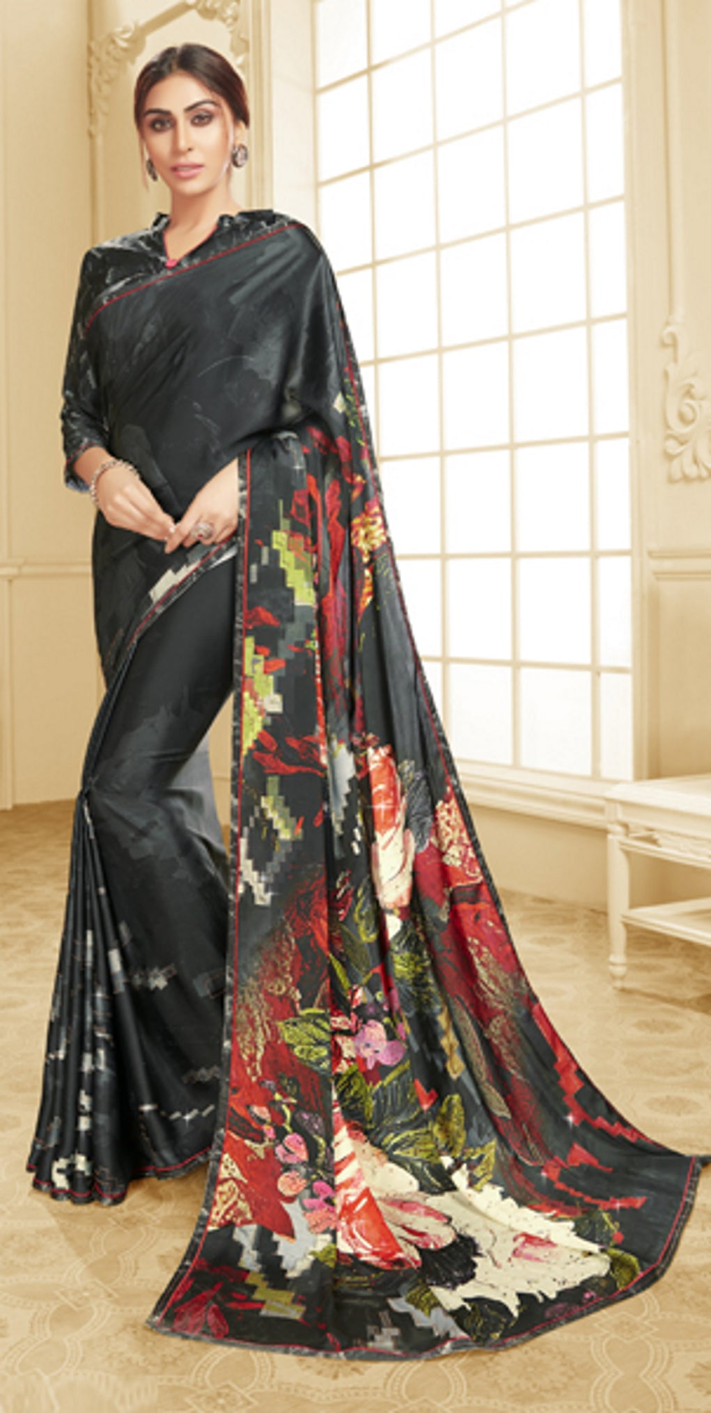 Black Color Crepe Silk Trendy Office Party Sarees NYF-6090