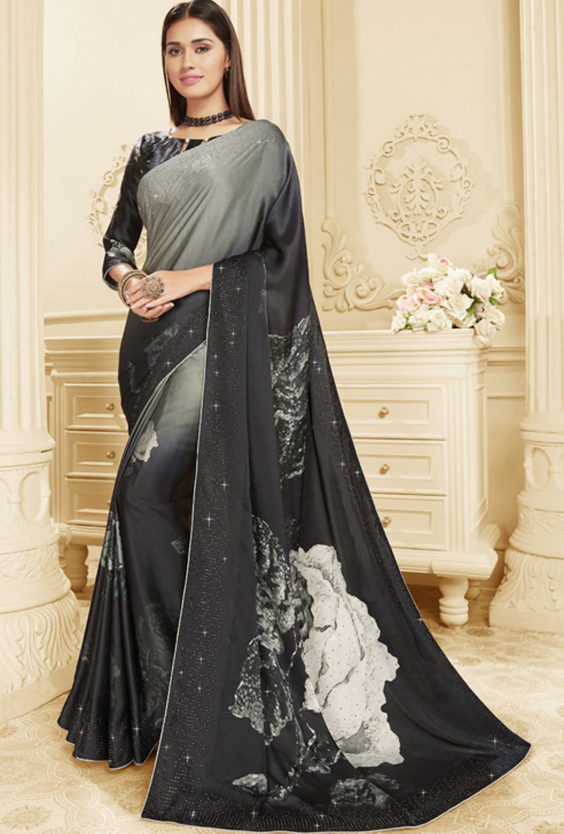 Grey & Black Color Crepe Silk Trendy Office Party Sarees NYF-6091