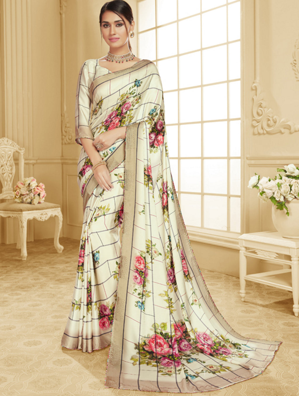 Off White Color Crepe Silk Trendy Office Party Sarees NYF-6092