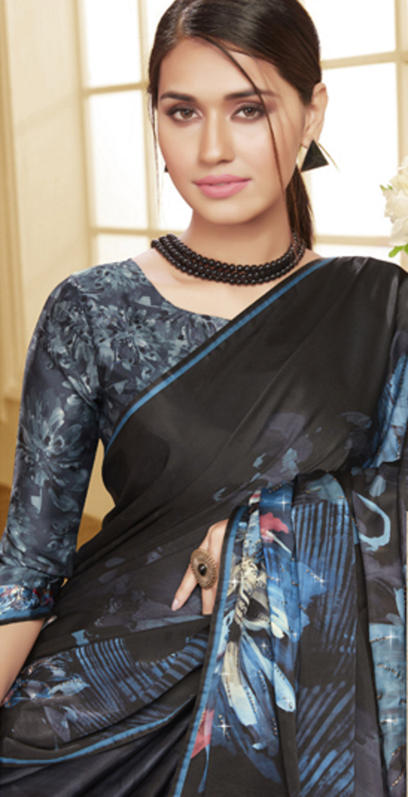 Black Color Crepe Silk Trendy Office Party Sarees NYF-6093