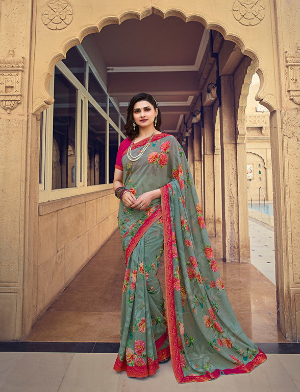 Grey and Pink Color Georgette Casual Wear Saree -  Nidra Collection  YF#10861