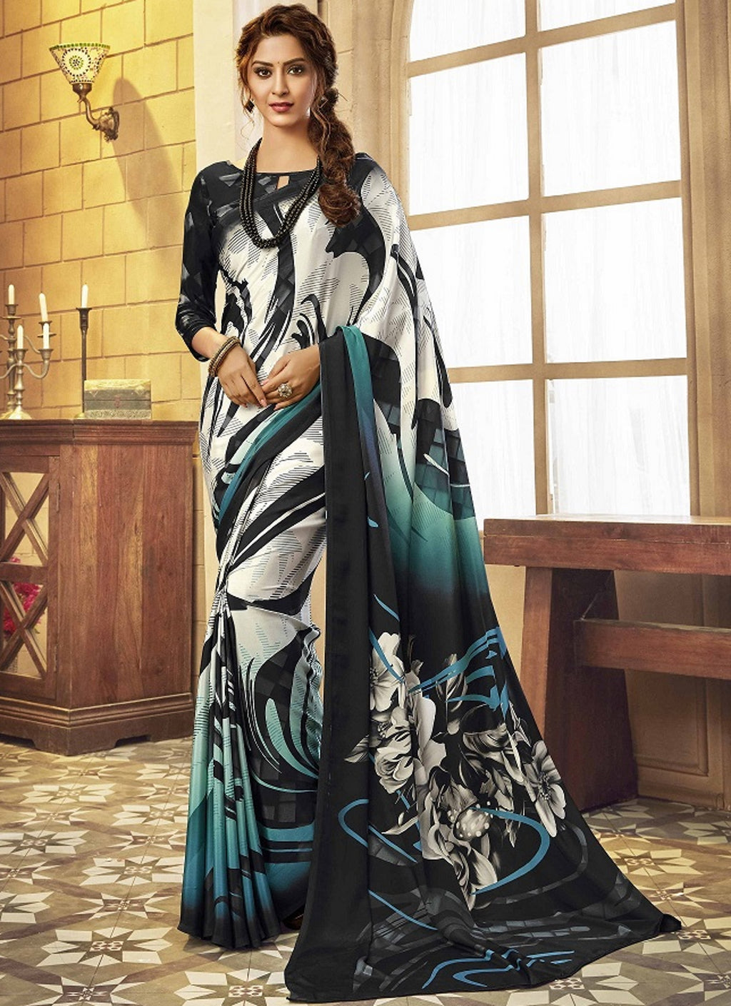 White & Black Color Crepe Silk Pretty Party Wear Sarees NYF-6235