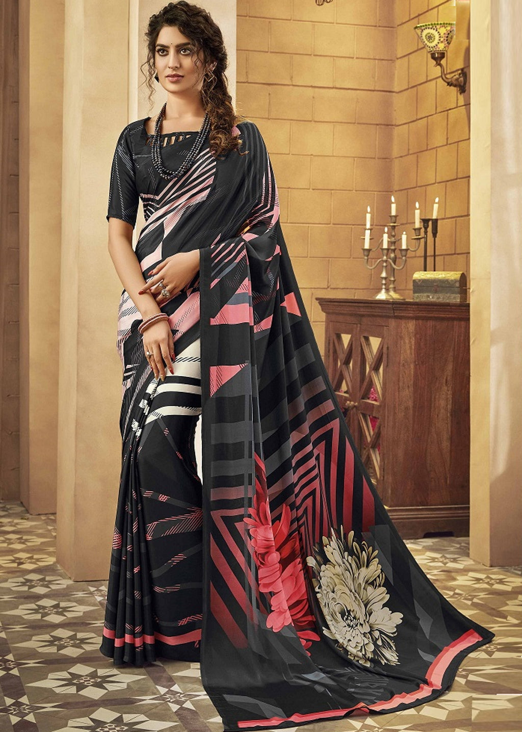 Black Color Crepe Silk Pretty Party Wear Sarees NYF-6236