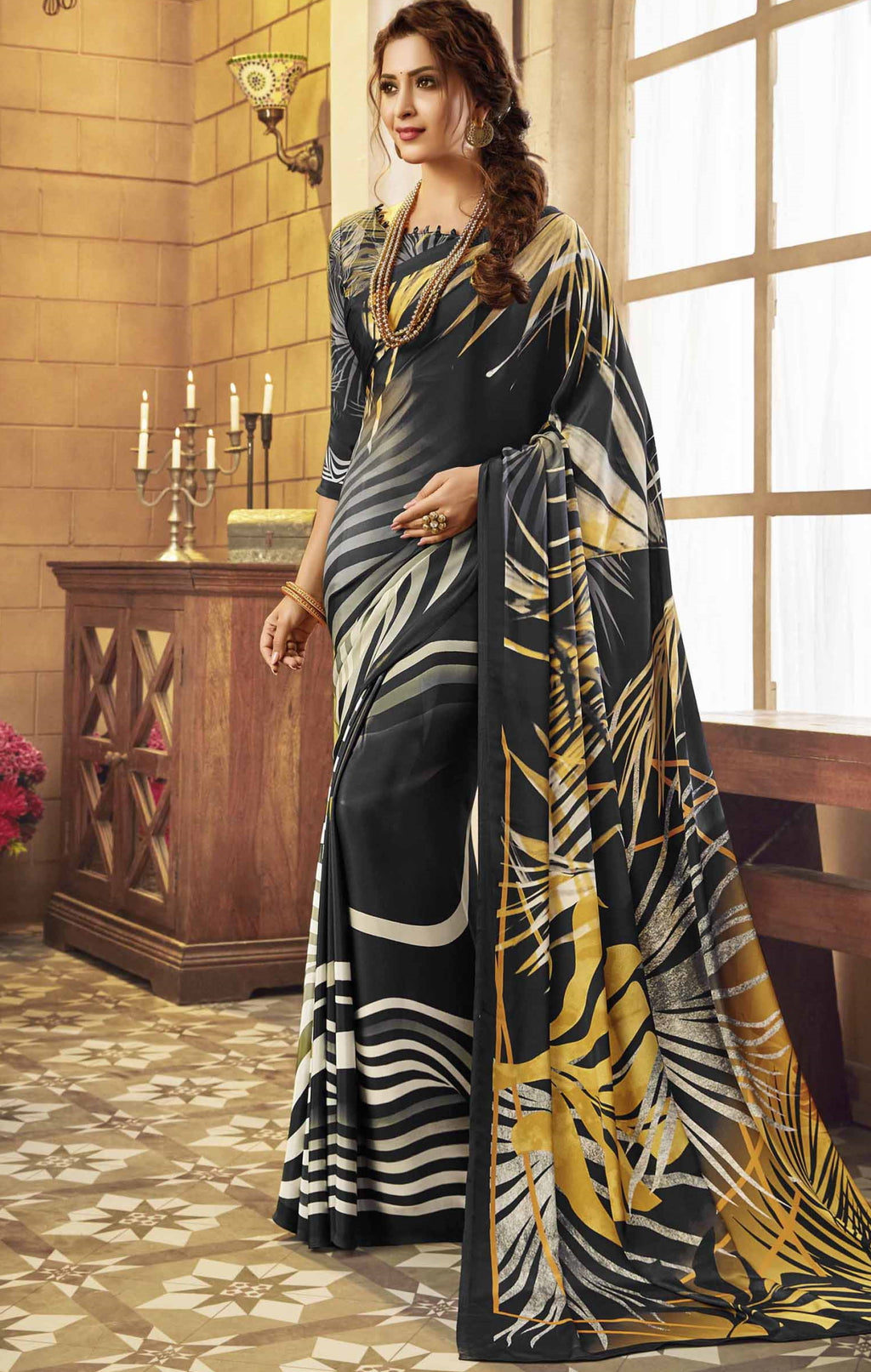 Black Color Crepe Silk Pretty Party Wear Sarees NYF-6237