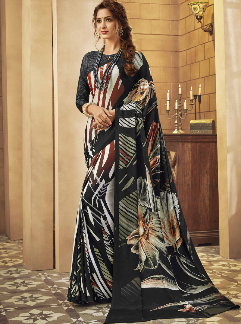 Black Color Crepe Silk Pretty Party Wear Sarees NYF-6238