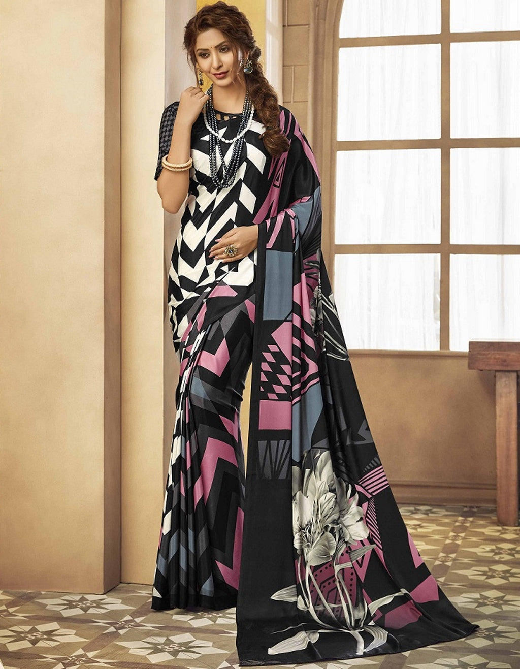 White & Black Color Crepe Silk Pretty Party Wear Sarees NYF-6239
