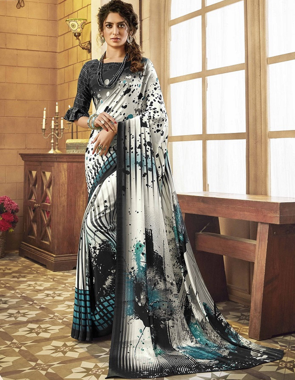 White Color Crepe Silk Pretty Party Wear Sarees NYF-6240