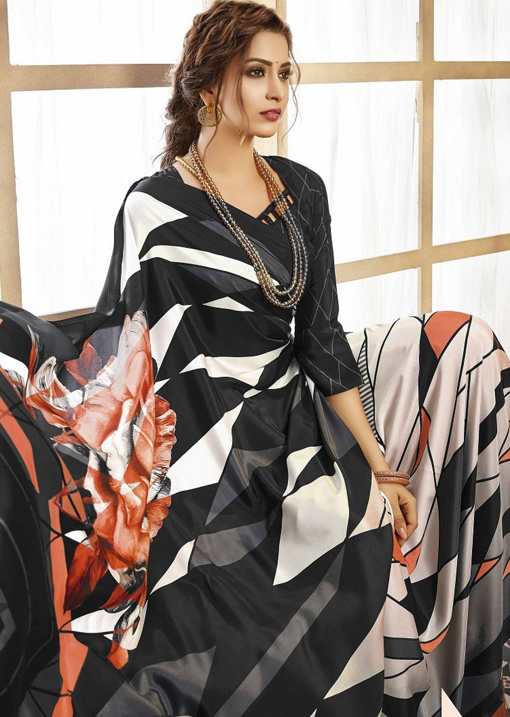 White & Black Color Crepe Silk Pretty Party Wear Sarees NYF-6241