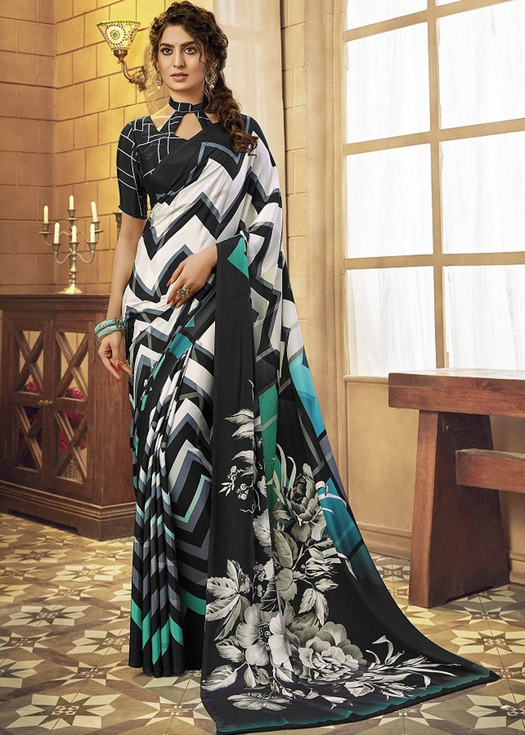 White & Black Color Crepe Silk Pretty Party Wear Sarees NYF-6242