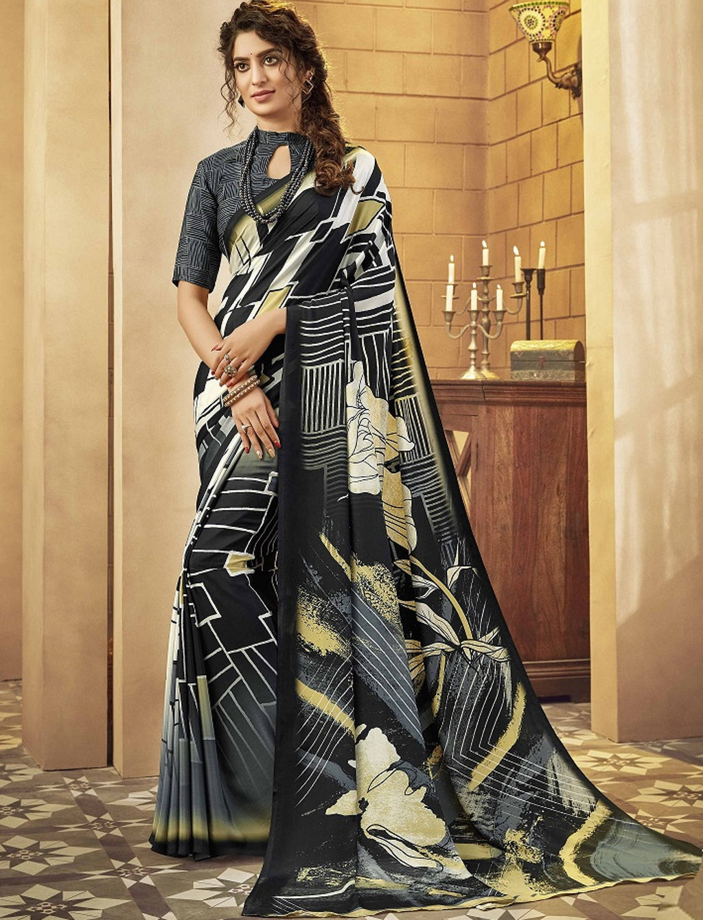 Black Color Crepe Silk Pretty Party Wear Sarees NYF-6243