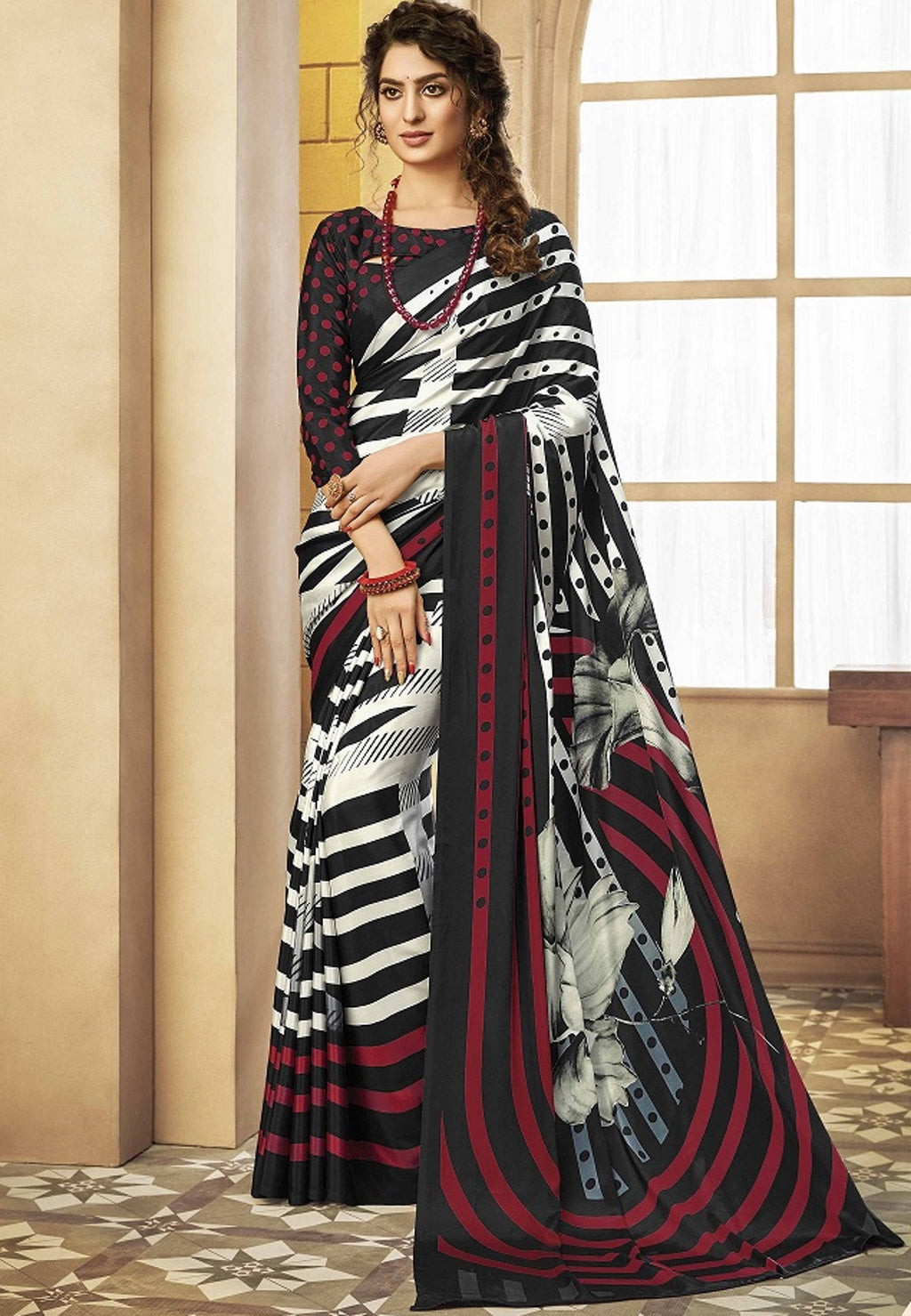 White & Black Color Crepe Silk Pretty Party Wear Sarees NYF-6244