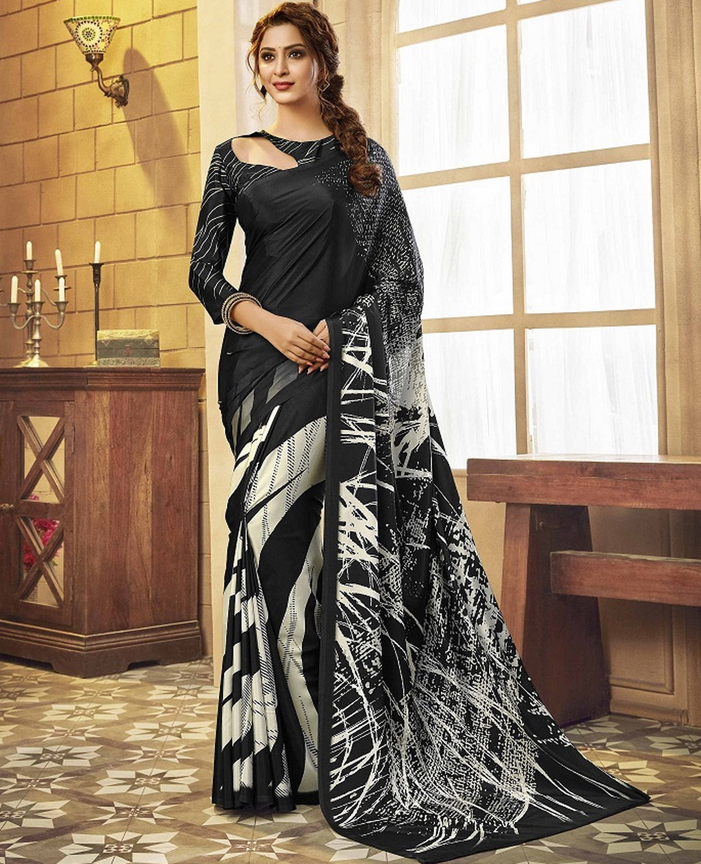 Black Color Crepe Silk Pretty Party Wear Sarees NYF-6245