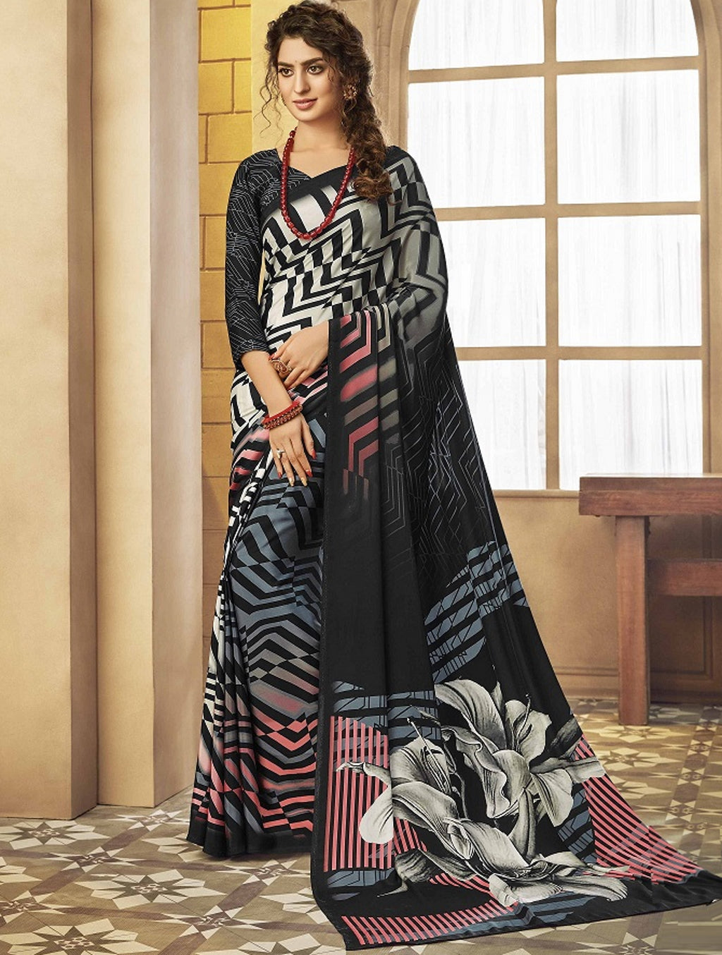 Black Color Crepe Silk Pretty Party Wear Sarees NYF-6246