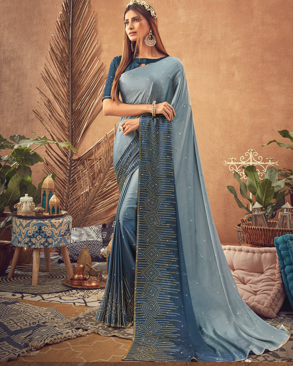 Light & Dark Grey Color Crepe Silk Glamourous Occasion Wear Sarees NYF-6402