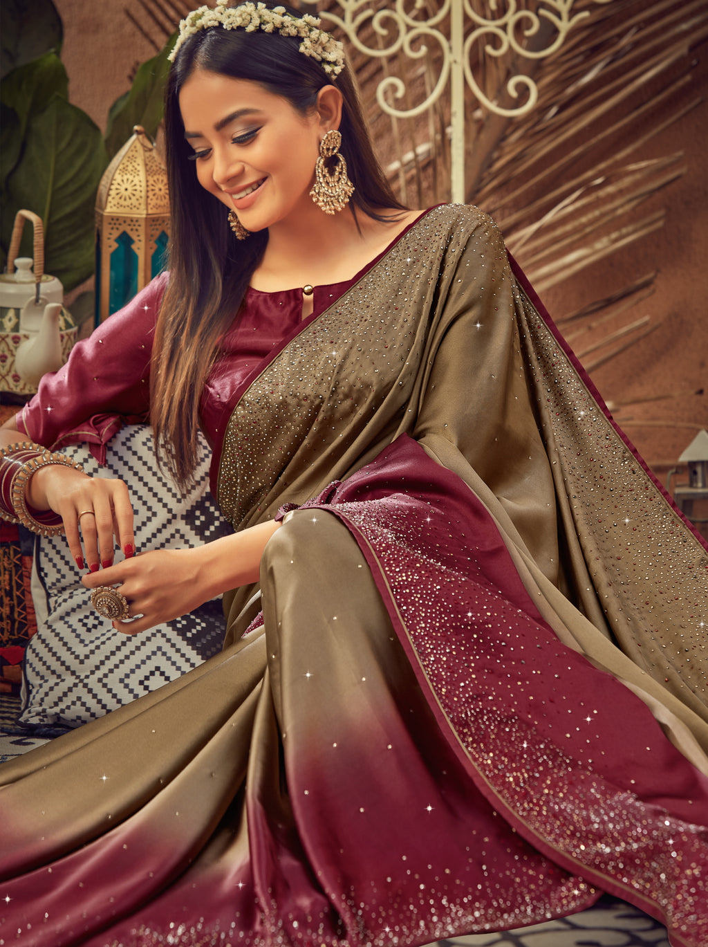 Brown & Magenta Color Crepe Silk Glamourous Occasion Wear Sarees NYF-6403