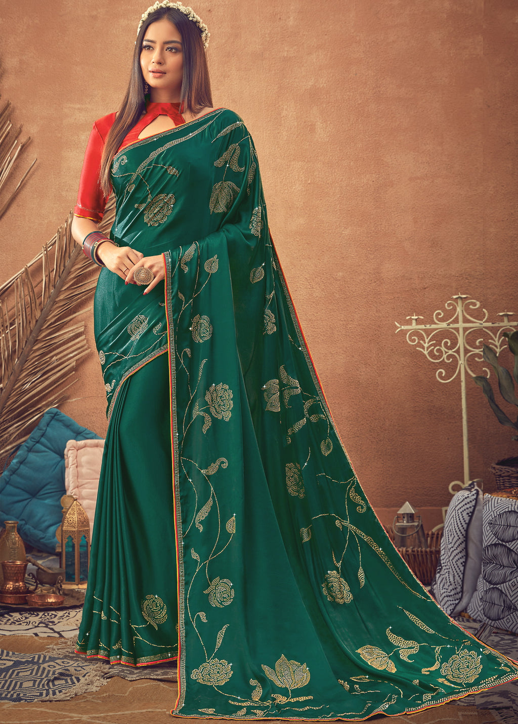 Green Color Crepe Silk Glamourous Occasion Wear Sarees NYF-6404