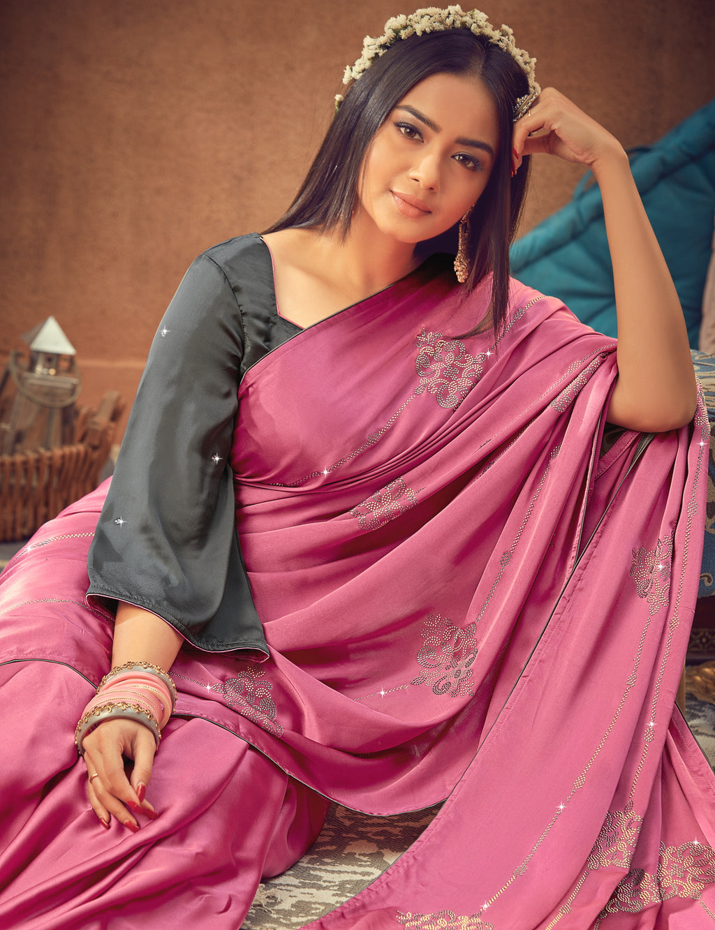 Pink Color Crepe Silk Glamourous Occasion Wear Sarees NYF-6405