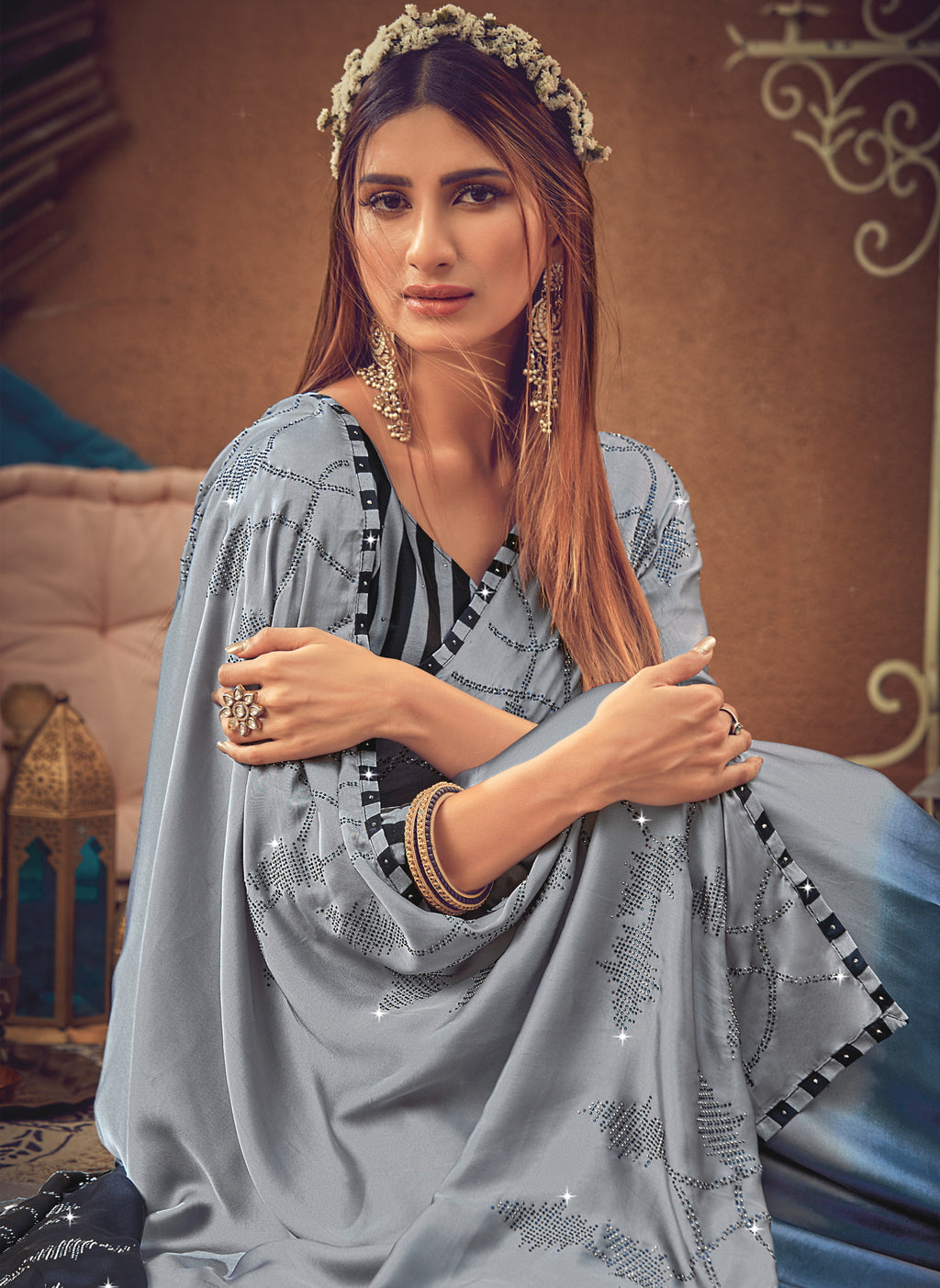 Grey & Blue Color Crepe Silk Glamourous Occasion Wear Sarees NYF-6406