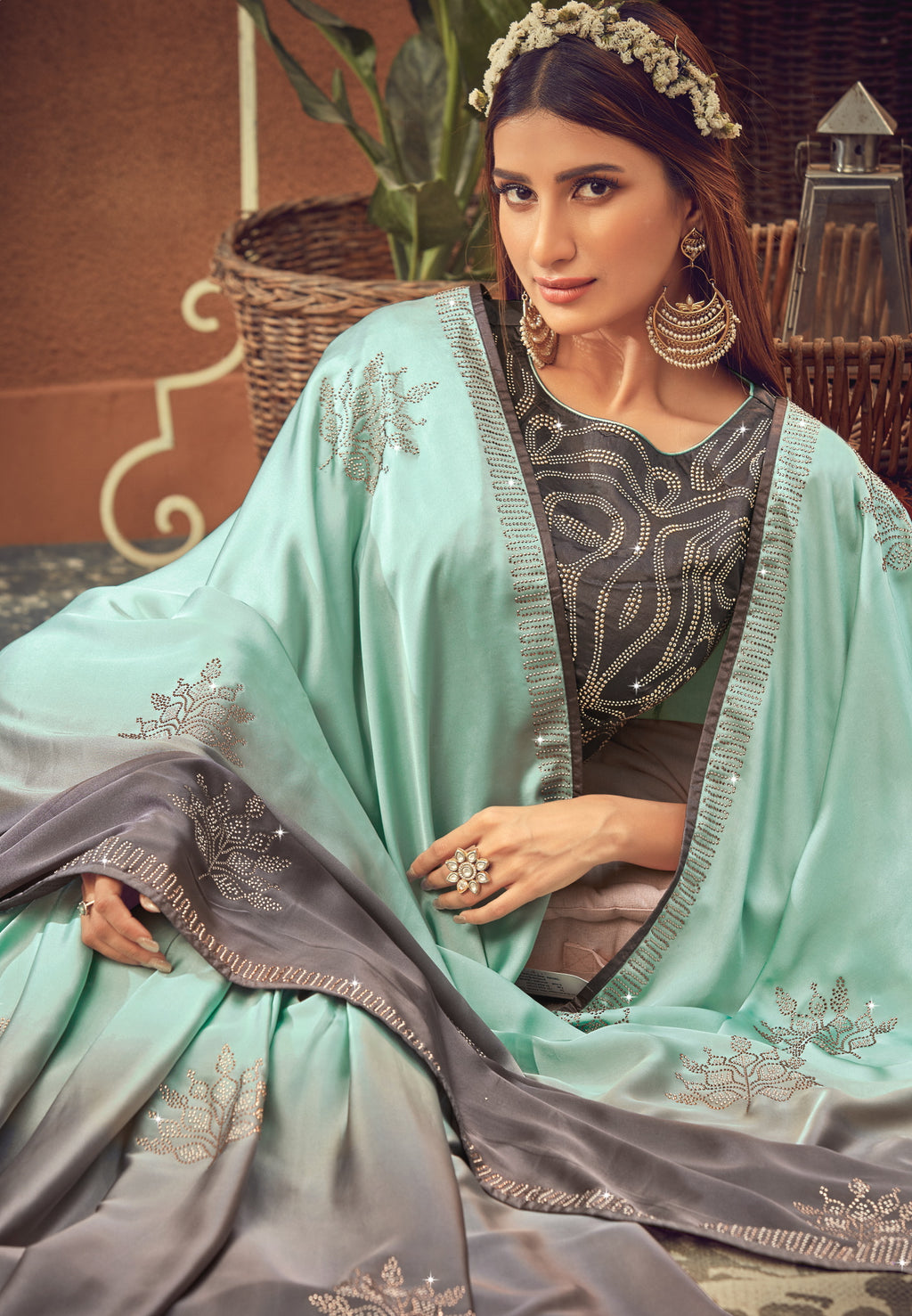 Aqua Green & Grey Color Crepe Silk Glamourous Occasion Wear Sarees NYF-6407