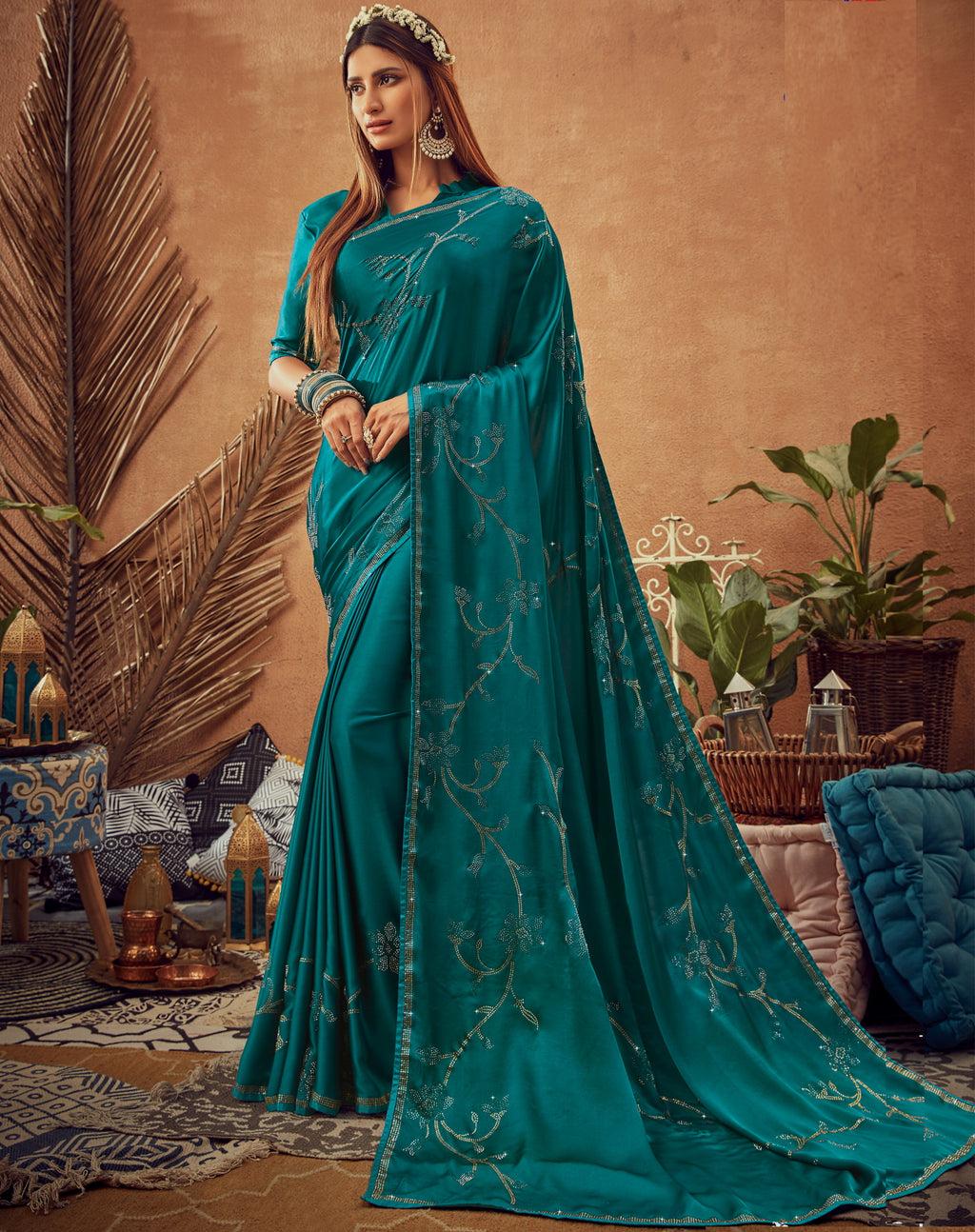 Rama Blue Color Crepe Silk Glamourous Occasion Wear Sarees NYF-6408