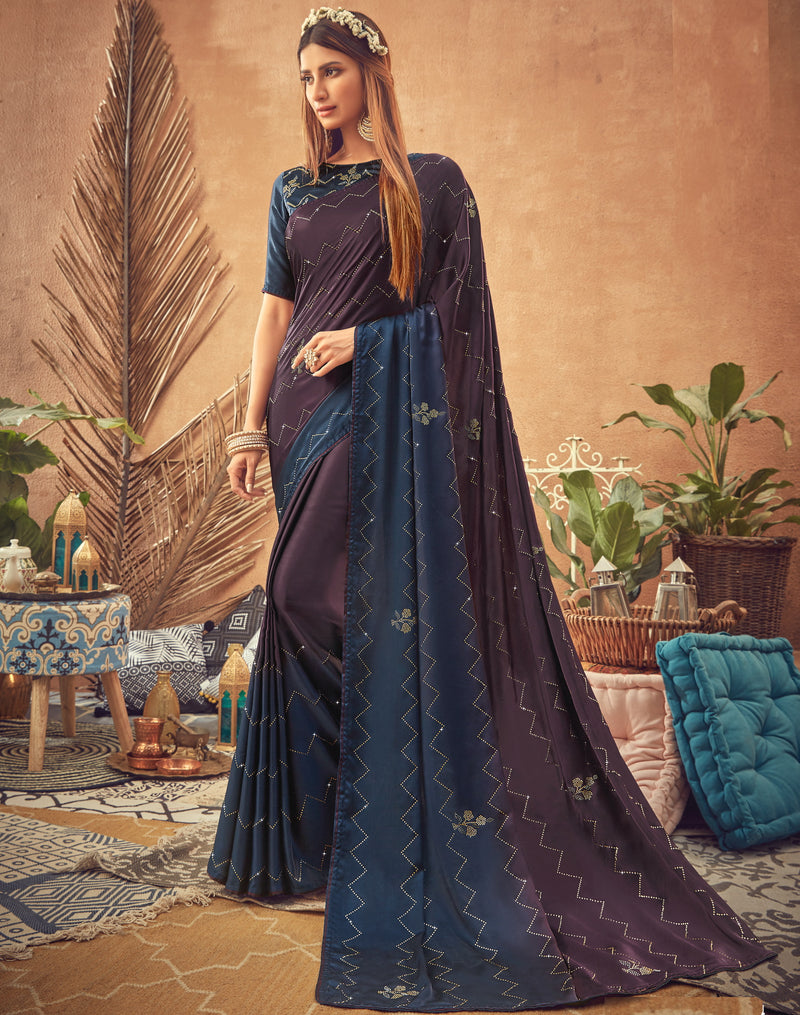 Purple & Blue Color Crepe Silk Glamourous Occasion Wear Sarees NYF-6409