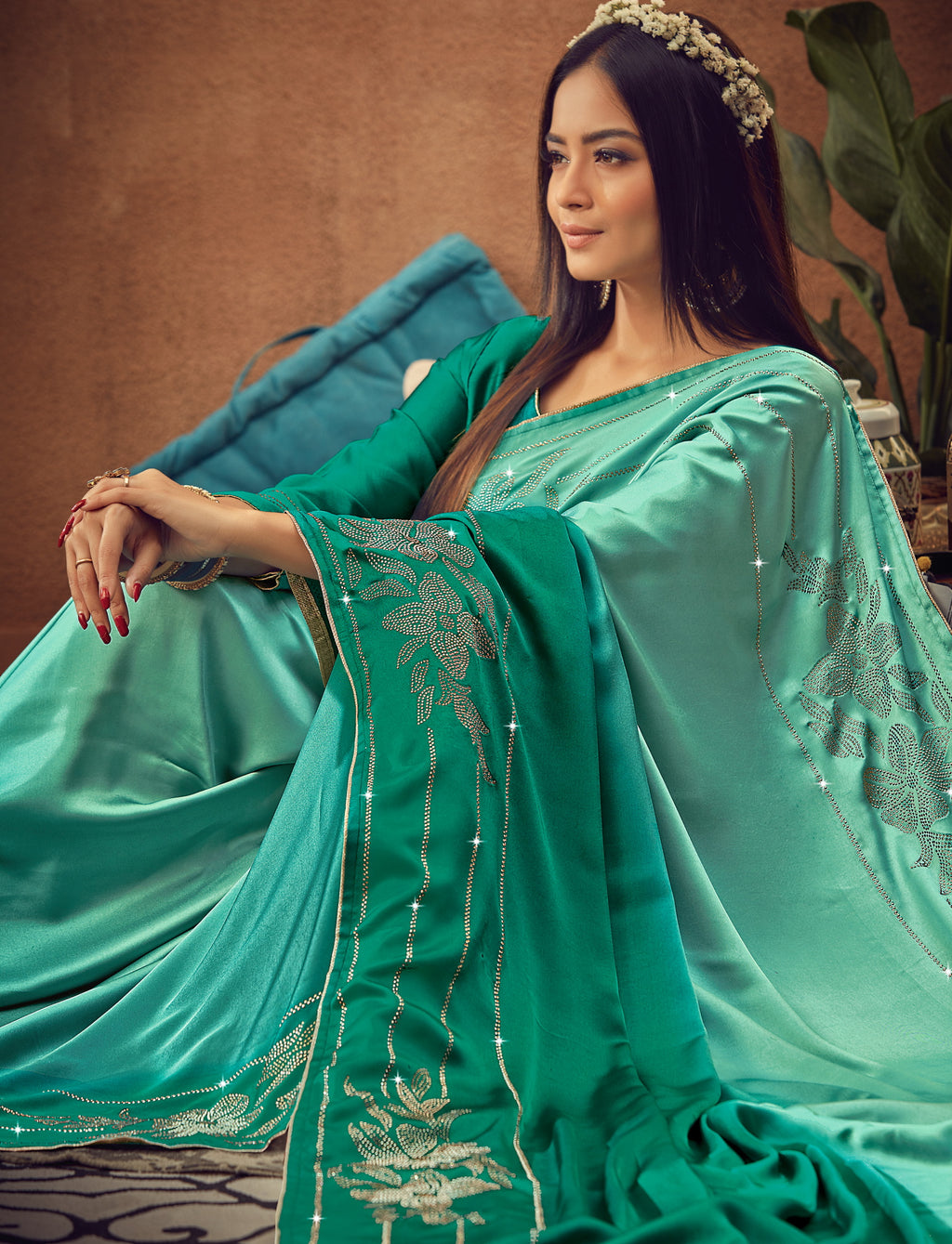 Light & Dakr Sea Green Color Crepe Silk Glamourous Occasion Wear Sarees NYF-6411