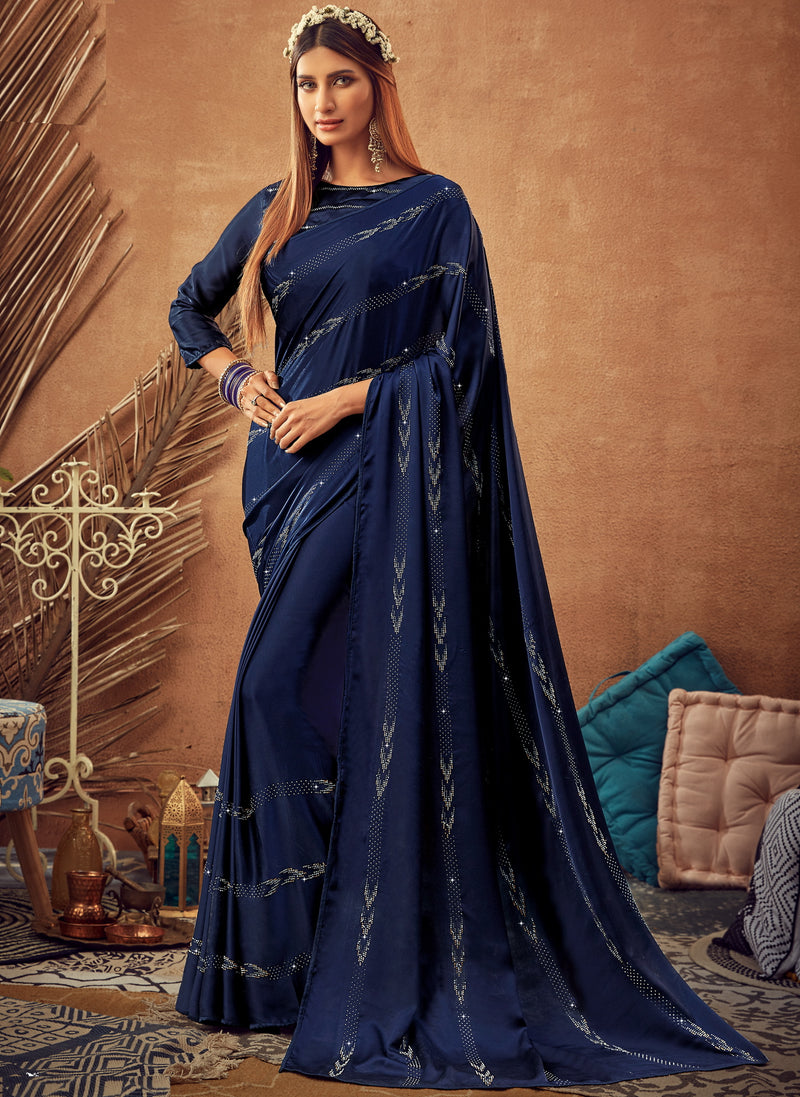 Blue Color Crepe Silk Glamourous Occasion Wear Sarees NYF-6412