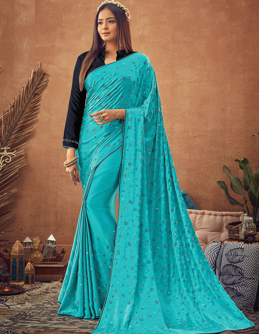 Firozi Color Crepe Silk Glamourous Occasion Wear Sarees NYF-6413