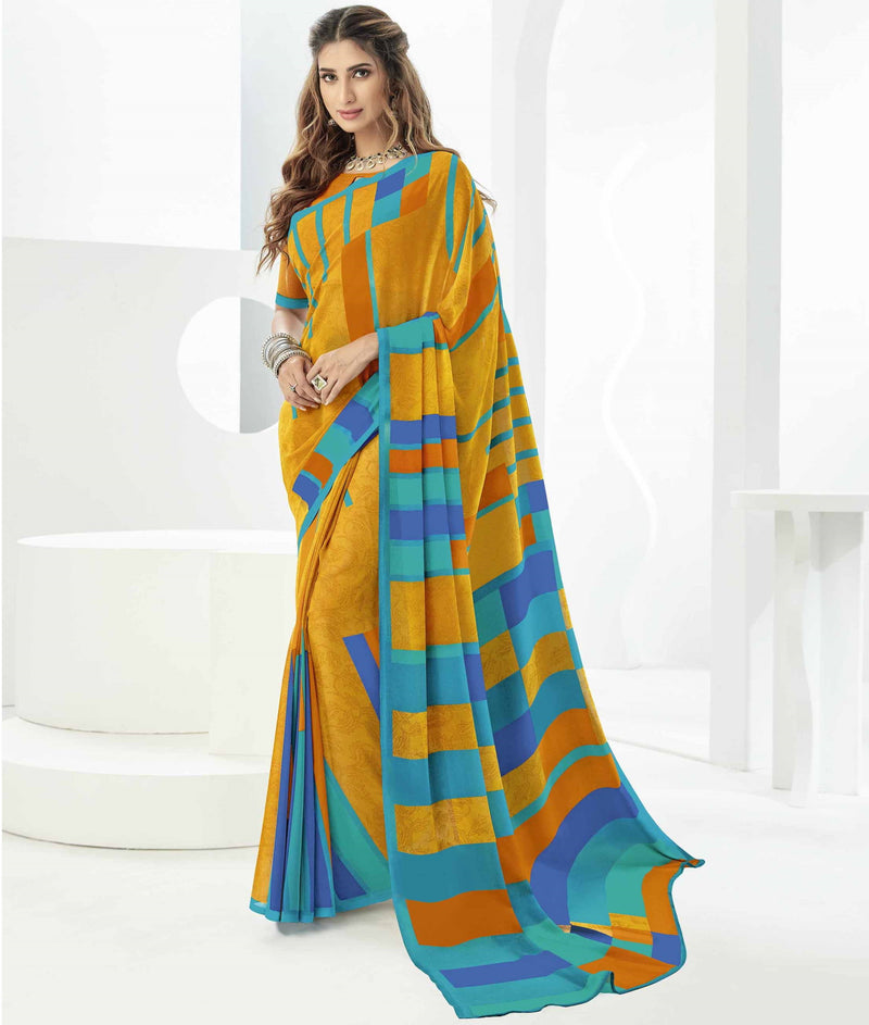 Yellow Color Georgette Beautiful Daily Wear Sarees NYF-6284