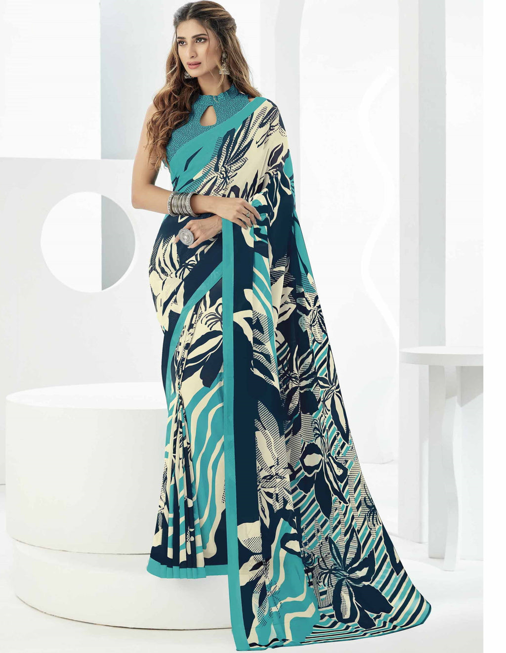 Blue Color Georgette Beautiful Daily Wear Sarees NYF-6286