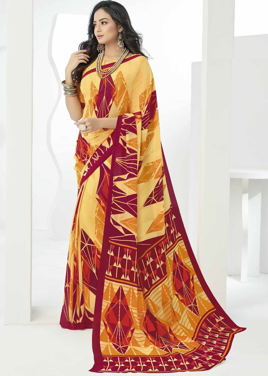 Yellow Color Georgette Beautiful Daily Wear Sarees NYF-6287