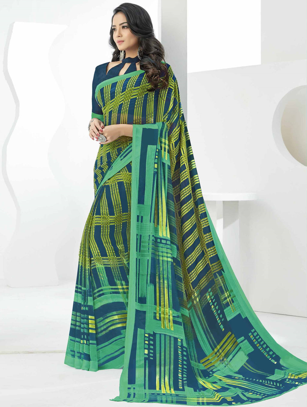 Green & Blue Color Georgette Beautiful Daily Wear Sarees NYF-6288